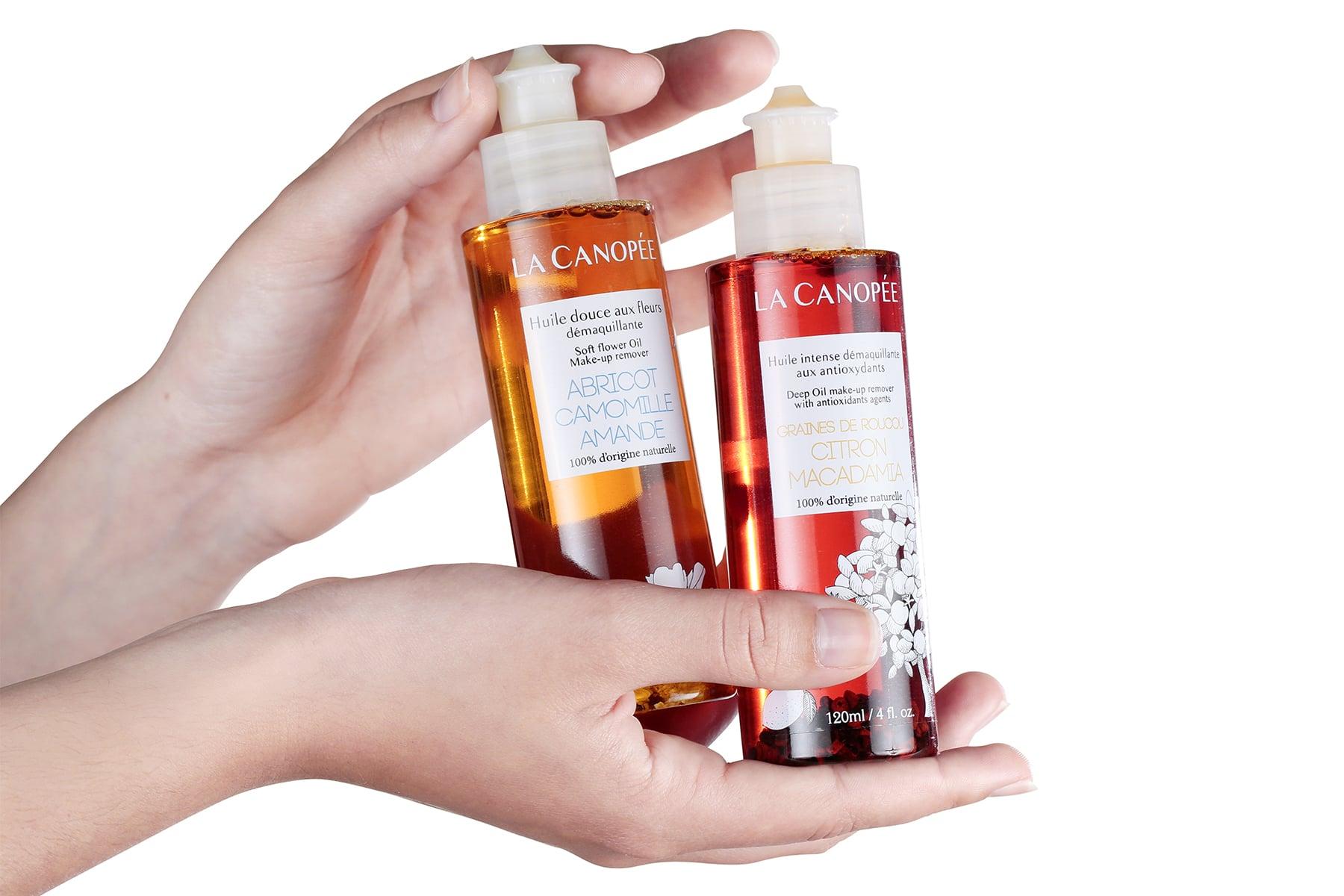 Packshot produit e-commerce cosmétiques huiles
